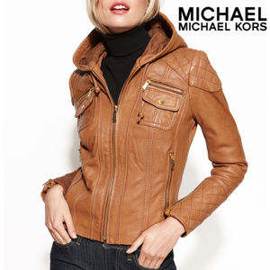 NWOT: MICHAEL MICHAEL KORS - Hooded Leather Jacket